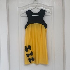 Other - Kids Yellow & Black Lycra Dress with Bows